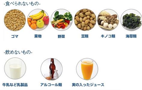 ・食べられない物  ゴマ、果物、野菜、豆類、キノコ類、海藻類 ・飲めない物 牛乳などの乳製品、アルコール、実の入ったジュース